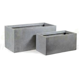 pflanzk bel aus clayfibre eckig grau 60 cm x 30 cm x 30 cm. Black Bedroom Furniture Sets. Home Design Ideas