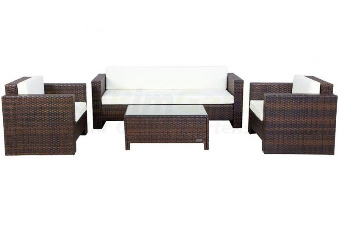 sitzgruppe aus polyrattan inkl polster f r 5 personen in. Black Bedroom Furniture Sets. Home Design Ideas
