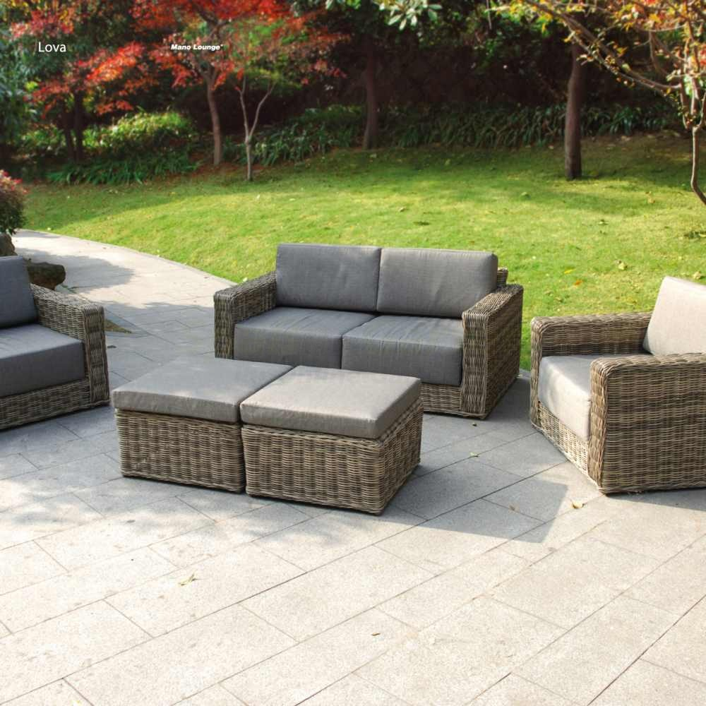lounge set lova aus polyrattan in natur grau wetterfest u. Black Bedroom Furniture Sets. Home Design Ideas