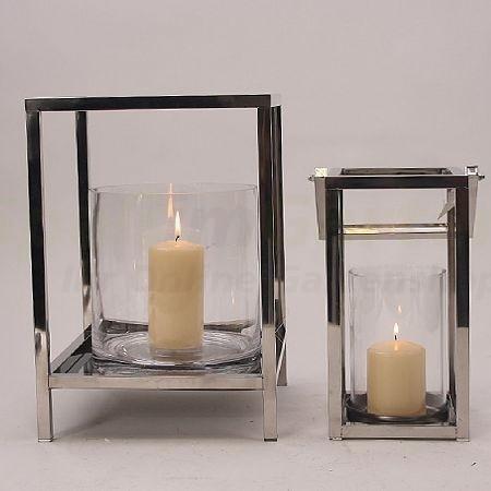windlicht kubus mit fu aus edelstahl und glas klein h he 33cm. Black Bedroom Furniture Sets. Home Design Ideas
